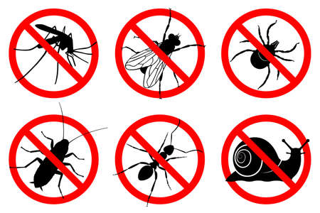 Prohibition insects signs. No: mosquitoes, flies, cockroaches, ants, mites, snails icon set. Warning symbols isolated on white background. Vector illustration Иллюстрация