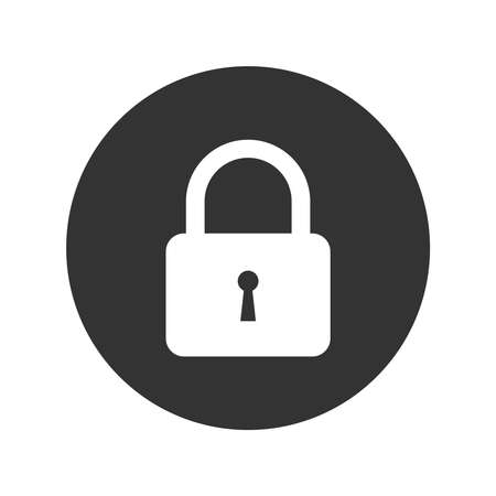 Padlock graphic icon. Lock sign in the circle isolated on white background. Symbol security. Flat vector illustration