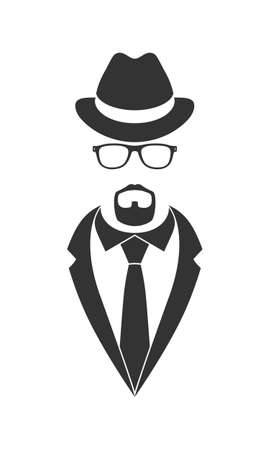 Male person graphic icon. Unknown man in suit and necktie with beard, glasses and hat. Graphic sign isolated on white background. Vector illustration
