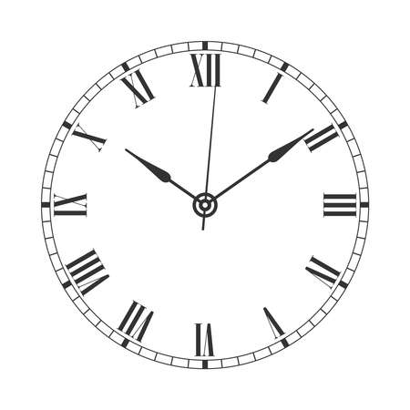 Vintage clock face graphic icon. Watch in retro style symbol isolated on white background. Design template closeup. Vector illustration Illusztráció
