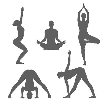 Poses of yoga graphic icons set. Women silhouettes in different poses of yoga. Signs isolated on white background. Vector illustration