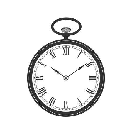 Pocket watch graphic icon. Vintage watch sign isolated on white background. Design template closeup. Vector illustration