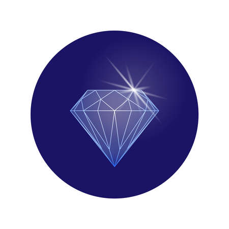 Diamond graphic sign. Sparkle of diamond symbol in the circle isolated on white background. Vector illustratio Illusztráció