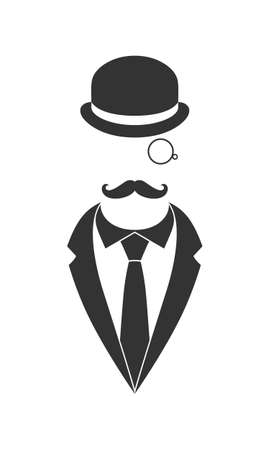 Person graphic icon. Unknown man with mustaches in suit and necktie and bowler hat monocle. Graphic sign isolated on white background. Vector illustration