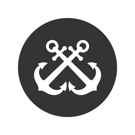 Crossed anchors graphic icon. Anchors of ships sign in the circle isolated on white background. Vector illustration