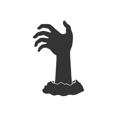 Hand of zombie graphic icon. Hand from under ground isolated symbol on white background. Vector illustration