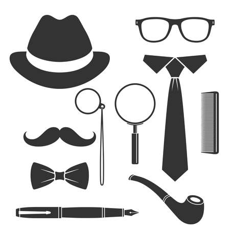 Gentleman's vintage accessories icons set. Men collection signs isolated on white background. Vector illustration Illusztráció