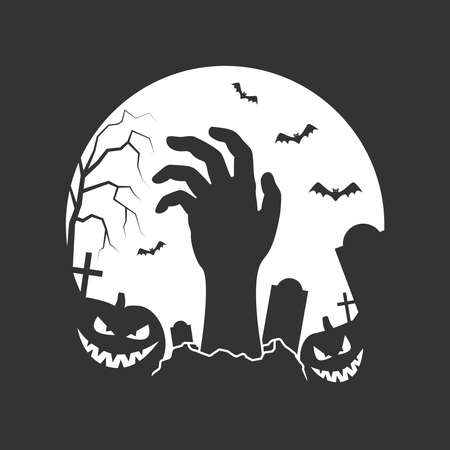 Halloween graphic poster. Halloween banner on graveyard with tombstones, hand of zombie, smiling pumpkins and bats on moon background. Halloween holiday greeting card. Vector illustration