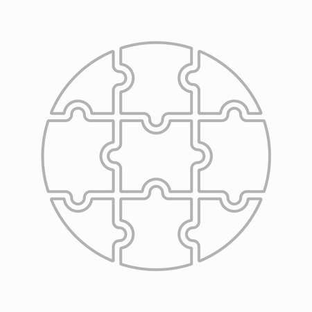 Nine blank puzzle pieces. Puzzle for web, information or presentation design, infographics. White puzzle on white background. Vector illustration Illusztráció