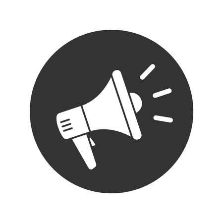 Megaphone graphic icon. Megaphone sign in the circle isolated on white background. Vector illustration