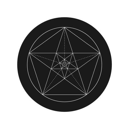 Pentagonal star graphic pentagram. Golden section sign in the circle isolated on white background. Fibonacci number. Geometric shape. Vector illustration