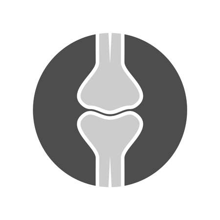 Human joint graphic Icon. Knee joint bones sign in circle isolated on white background. Vector illustration 向量圖像