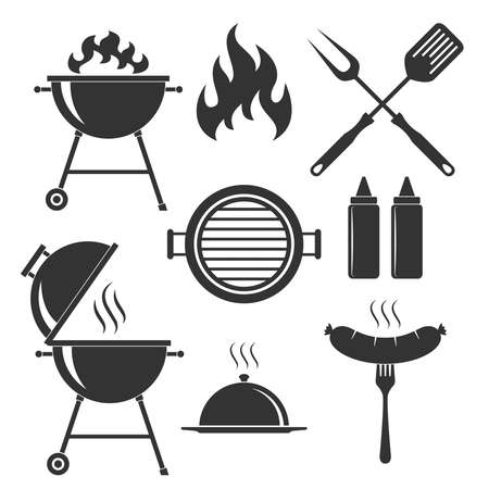 Grill or bbq set icons. Grill or barbecue symbols isolated black signs on white background. Vector illustration