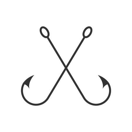 Crossed fish hooks graphic icon. Fishing hooks sign Isolated on white background. Vector illustration