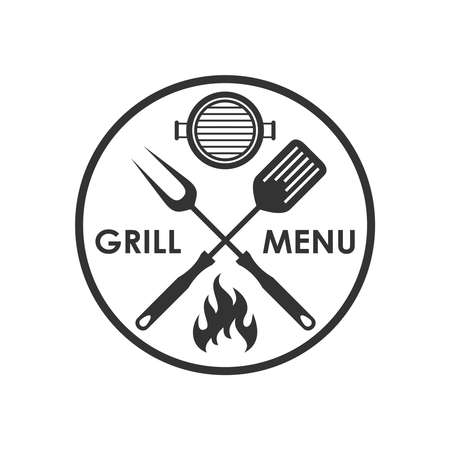 Stamp grill menu. Crossed barbecue tools, flame and text