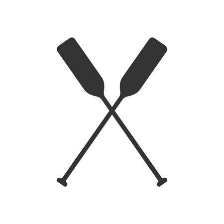 Crossed oars graphic icon. Boat oars sign Isolated on white background. Vector illustration