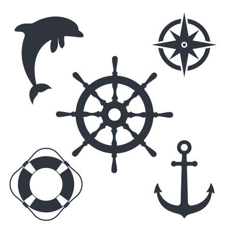 Marine travel topic graphic set symbols. Nautical signs isolated on white background. Vector illustration Illusztráció