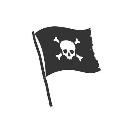Jolly Roger symbol. Pirate flag with white skull and bones isolated on black background. Vector illustration Illusztráció