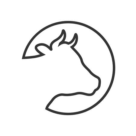 Cow head graphic icon. Cow head contour in the circle Isolated on white background. Cattle symbol.