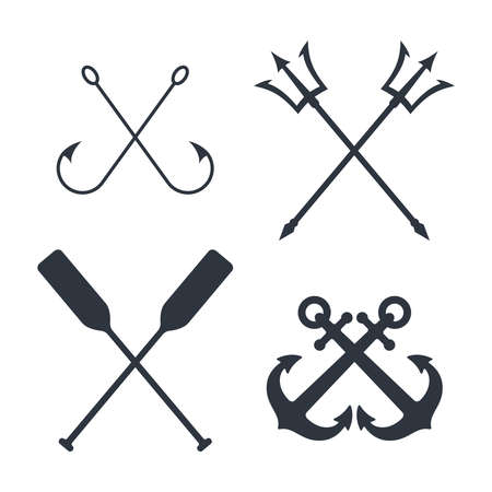 Maritime symbols graphic set. Crossed signs of nautical topic isolated on white background. Vector illustration