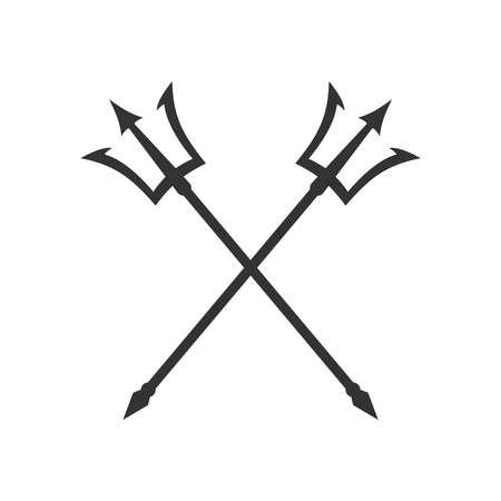 Poseidon tridents graphic icon. Crossed harpoons sign Isolated on white background. Vector illustration Illusztráció