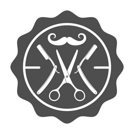 Barber shop emblems template. Stamp with barber tools graphic sign isolated on white background. Barbershop symbol. Vector illustration Illusztráció