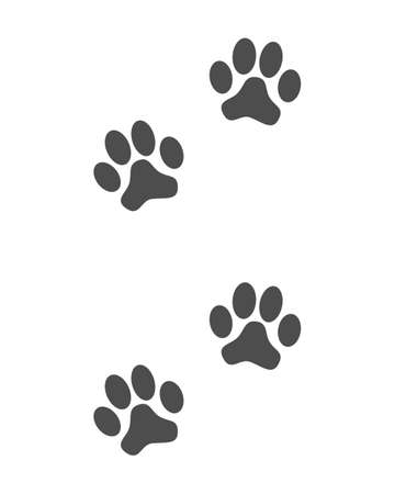 Prints paws dog graphic sign. Animal footprints icon isolated on white background. Vector illustration
