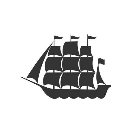 Sailing ship graphic symbol. Nautical ship isolated on white background. Vector illustration