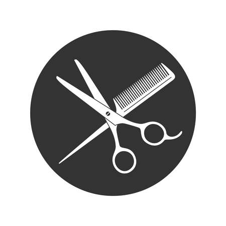 Scissors and hairbrush graphic icon. Crossed scissors and hairbrush sign in the circle isolated on white background. Barbershop symbol. Vector illustration