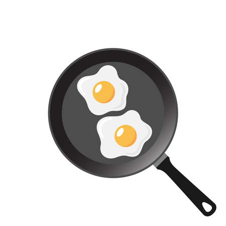 Fried eggs graphic icon. Frying eggs on the pan sign isolated on white background. Breakfast symbol. Vector illustration