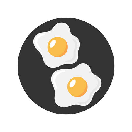 Fried eggs graphic icon. Sign frying eggs sign in the black circle isolated on white background. Breakfast symbol. Vector illustration Illusztráció