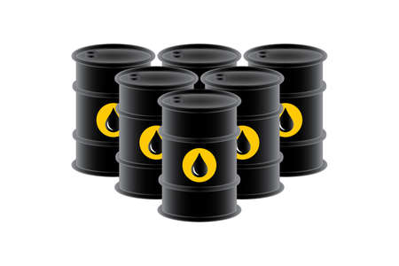 Barrels petroleum graphic icon. Oil barrels sign isolated on white background. Vector illustration