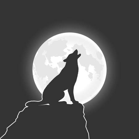 Wolf howls at the Moon. Wolf on the rock in the night graphic poster. Vector illustration Illusztráció