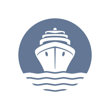 Sea ship graphic icon. Cruise liner in the circle sign isolated on white background. Sea cruise symbol. Vector illustration
