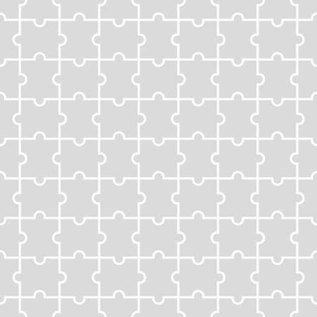 Seamless background from blank puzzle pieces. Grid with monochrome geometric design. Mosaic from puzzle pieces. Vector illustration Illusztráció