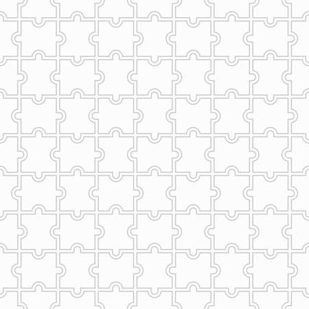 Puzzle seamless background. Grid with monochrome geometric design. Mosaic from blank puzzle pieces on white background. Vector illustration