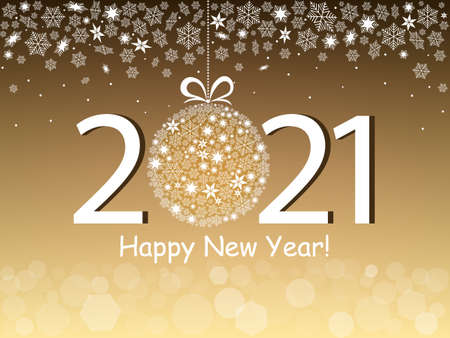 Happy New Year 2021 greeting card in a gold design. Vector illustration with text, snowflakes and bokeh light.