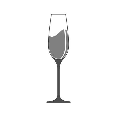 Glass with champagne graphic icon. Champagne glass sign isolated on white background. Vector illustration
