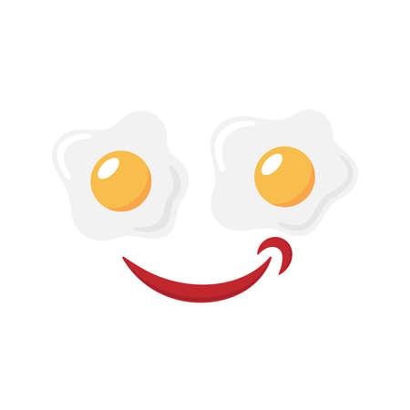 Smile from eggs and ketchup graphic icon. Two fried egg with ketchup sign isolated on white background. Vector illustration