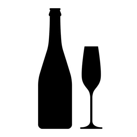 Champagne bottle and glass graphic icon. Bottle and glass of champagne sign isolated on white background. Vector illustration