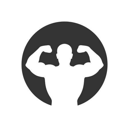 Athlete man graphic icon. Strong man sign in the circle isolated on white background. Bodybuilding and fitness symbol. Vector illustration