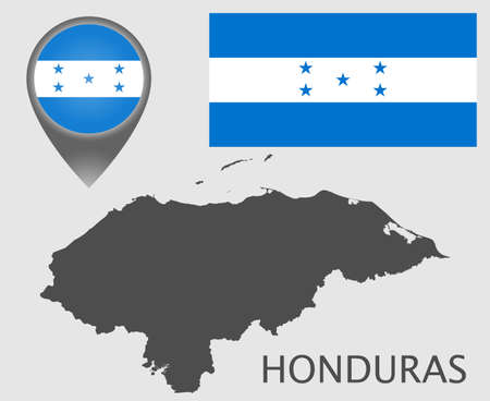 Flag, map pointer and and blank map of the Honduras. High detail. Vector illustration