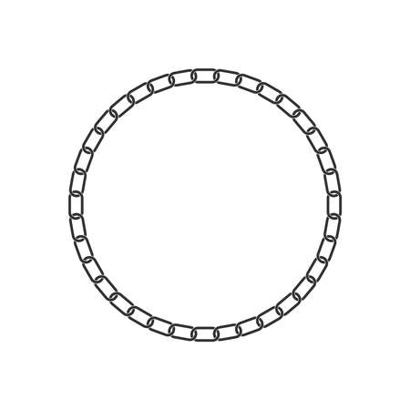 Frame from chain isolated on white background. Chain form circle graphic symbol. Illusztráció