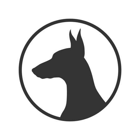 Dog graphic icon. Doberman sign in the circle isolated on white background. Dog breeding symbol.