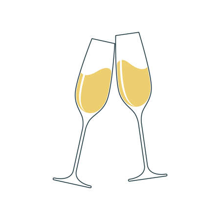 Clink glasses champagne graphic icon. Cheers with two champagne glasses sign isolated on white background.