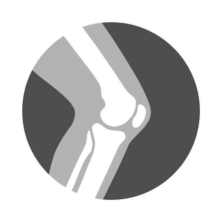 Knee joint icon. Knee bones graphic sign. Symbol human joint in the circle isolated on white background. Flat design.