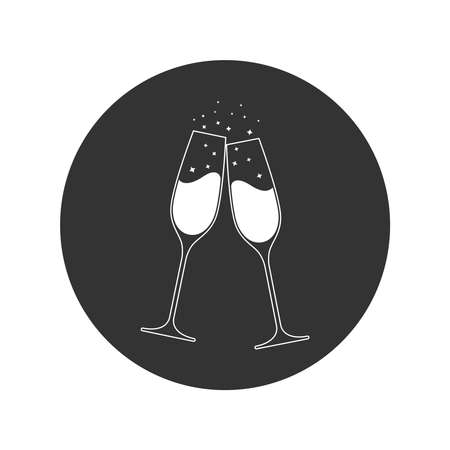 Clink glasses champagne graphic icon. Cheers with two champagne glasses sign in the circle isolated on white background. Vector illustration Illusztráció