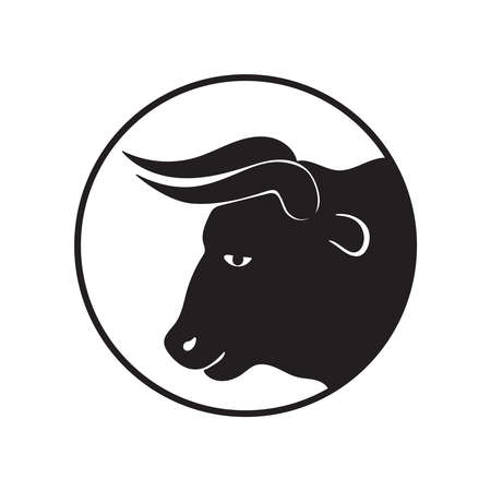 Bull head graphic icon. Ox sign in the circle isolated on white background. Bull symbol. Vector illustration