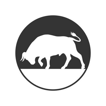 Bull graphic icon. Bullock sign in the circle isolated on white background. Ox symbol. Vector illustration