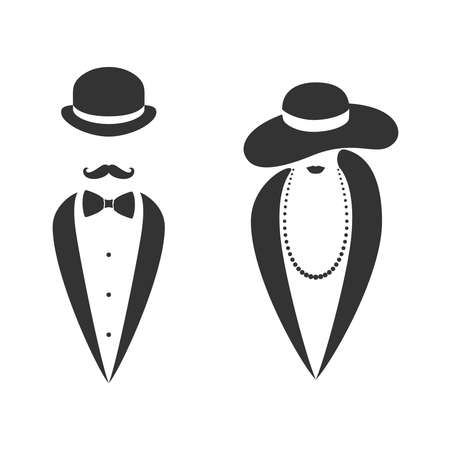 Lady and gentleman graphic icon. Man and woman in hats sign isolated on white background. Fashion symbol. Vector illustration 向量圖像